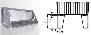 Voet voor aluminium hydrauliekbak 30 - 44 - 70