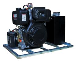 Hydrauliek aggregaat/powerpack met 10pk dieselmotor